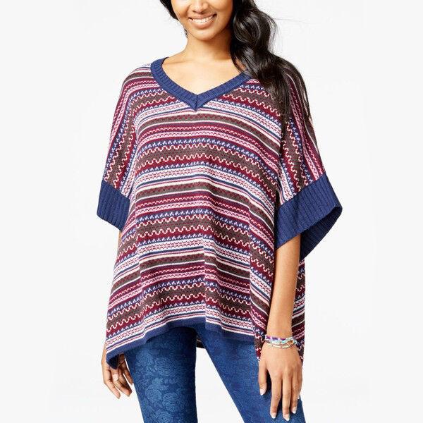 New S FRESHMAN Boho Poncho Sweater Cozy Soft Intarsia Knit V-Neck Navy Womens - $10.79