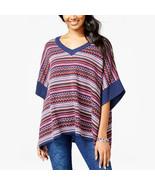 New S FRESHMAN Boho Poncho Sweater Cozy Soft Intarsia Knit V-Neck Navy W... - $10.79