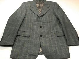 Hugo Boss Artemis 40R Gray Blue Check Wool Jacket Blazer Sport Coat - $59.99