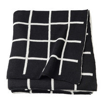 IKEA ALMALIE Throw Blanket 100% Cotton Black White Reversible, 603.522.7... - ₹4,040.24 INR