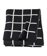IKEA ALMALIE Throw Blanket 100% Cotton Black White Reversible, 603.522.7... - £43.93 GBP