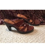 Women's 9 SOFFT BRN LEATHER Hi HEEL shoes Sandals CUTE Barely Worn - $27.04