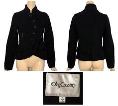 Vintage Oleg Cassini Black Ruffled Jacket M-6 - $92.00
