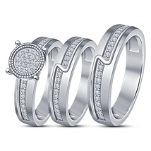 Wedding Band Diamond Engagement Ring Trio Set White Gold Plated Pure 925... - $162.78