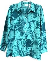 Liz Claiborne Lizport Petite 100% Cotton Green Floral Hibiscus Tropical ... - $26.88