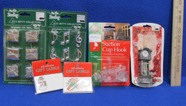 Lot 6 Itty Bitty Ornaments Gifts Musical Clock & Suction Hooks Gift Labe... - $7.91