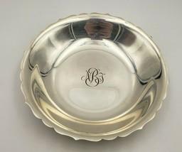 Vintage Tiffany & Co. Sterling Silver Scalloped Edge Bowl w/ Monogram #6933 - $495.00