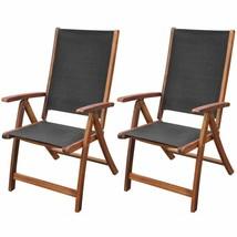 vidaXL 2x Solid Acacia Wood Garden Folding Chair Patio Outdoor Reclining... - $131.99
