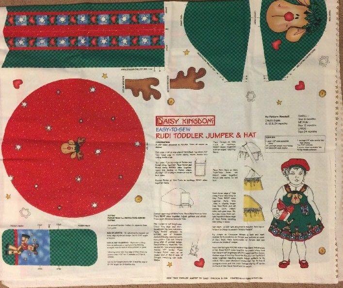 Vintage Daisy Kingdom Rudi Christmas Toddler Jumper & Hat Fabric Panel Pattern