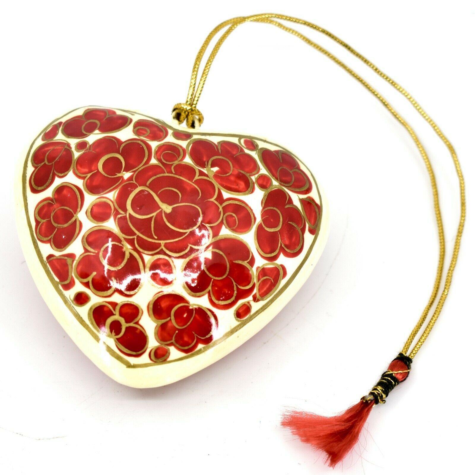 Asha Handicrafts Painted Papier-Mâché Red & Gold Heart Floral Christmas Ornament