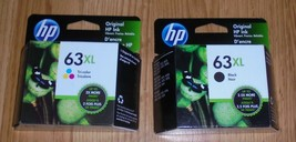 Genuine HP 63XL Black & Tri-Color High Yield Ink Cartridges 2022 New 63 ... - $63.36