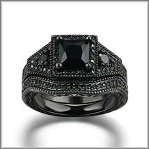 Exquisette Black Pave Cubic Zircons Black Diamonds Black Gold Plated Rings Sets image 2