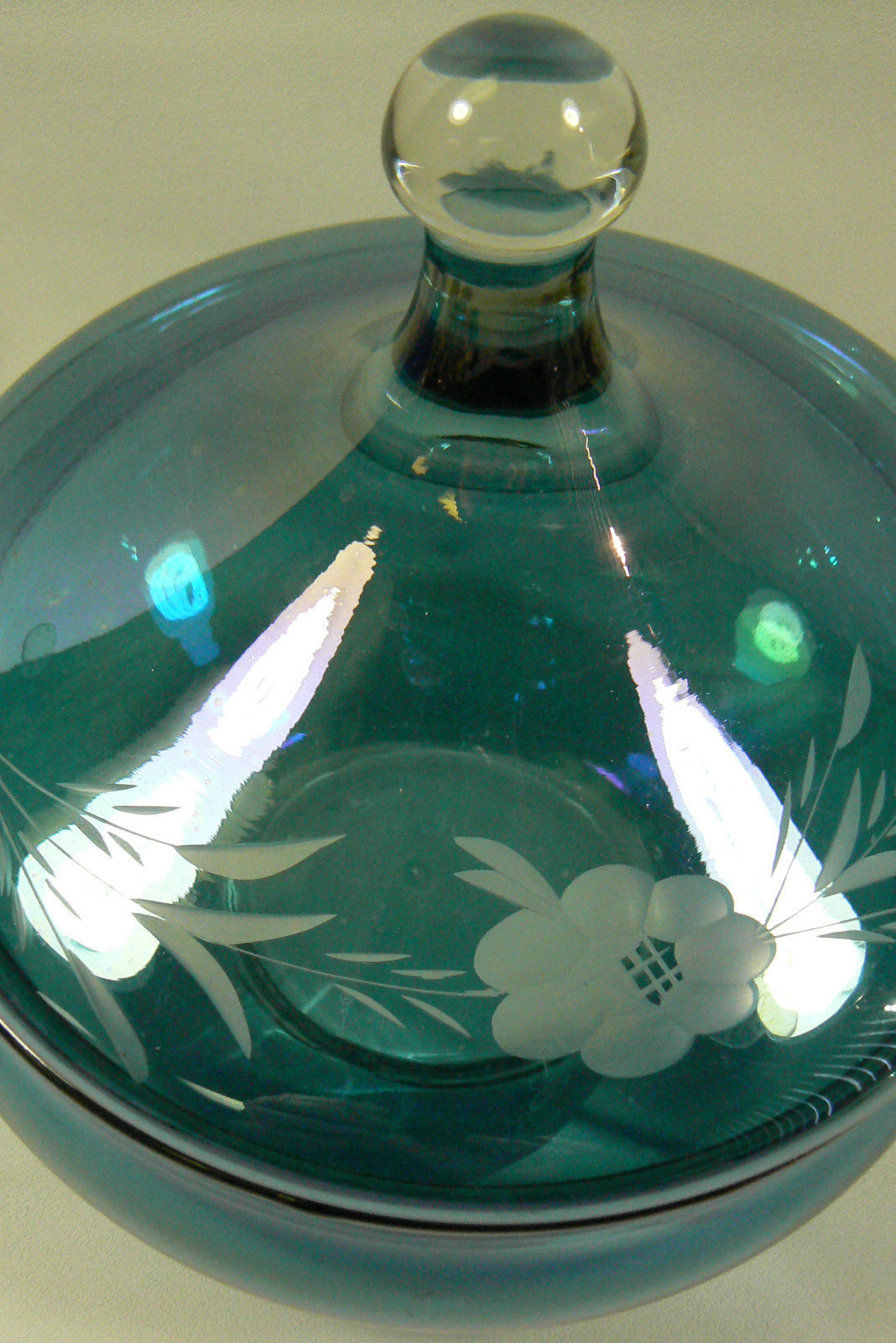 Iridescent Blue Ethched Floral Design Glass Compote Glass Candy Dish Lidded MINT