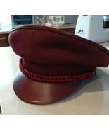 European Captain Military style mens hat Burgundy size 7 3/8 Euro 59 Rare - $29.69