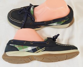 Sperry Top Sider Boat Shoes Loafers - Women's 6.5 ANGELFISH Navy/Plaid Suede - $39.59