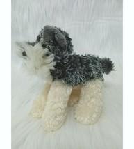 "6"" Aurora Flopsie Mini Schnauzer Puppy Dog Gray Cream Plush Lovey Toy B81 - $9.97"