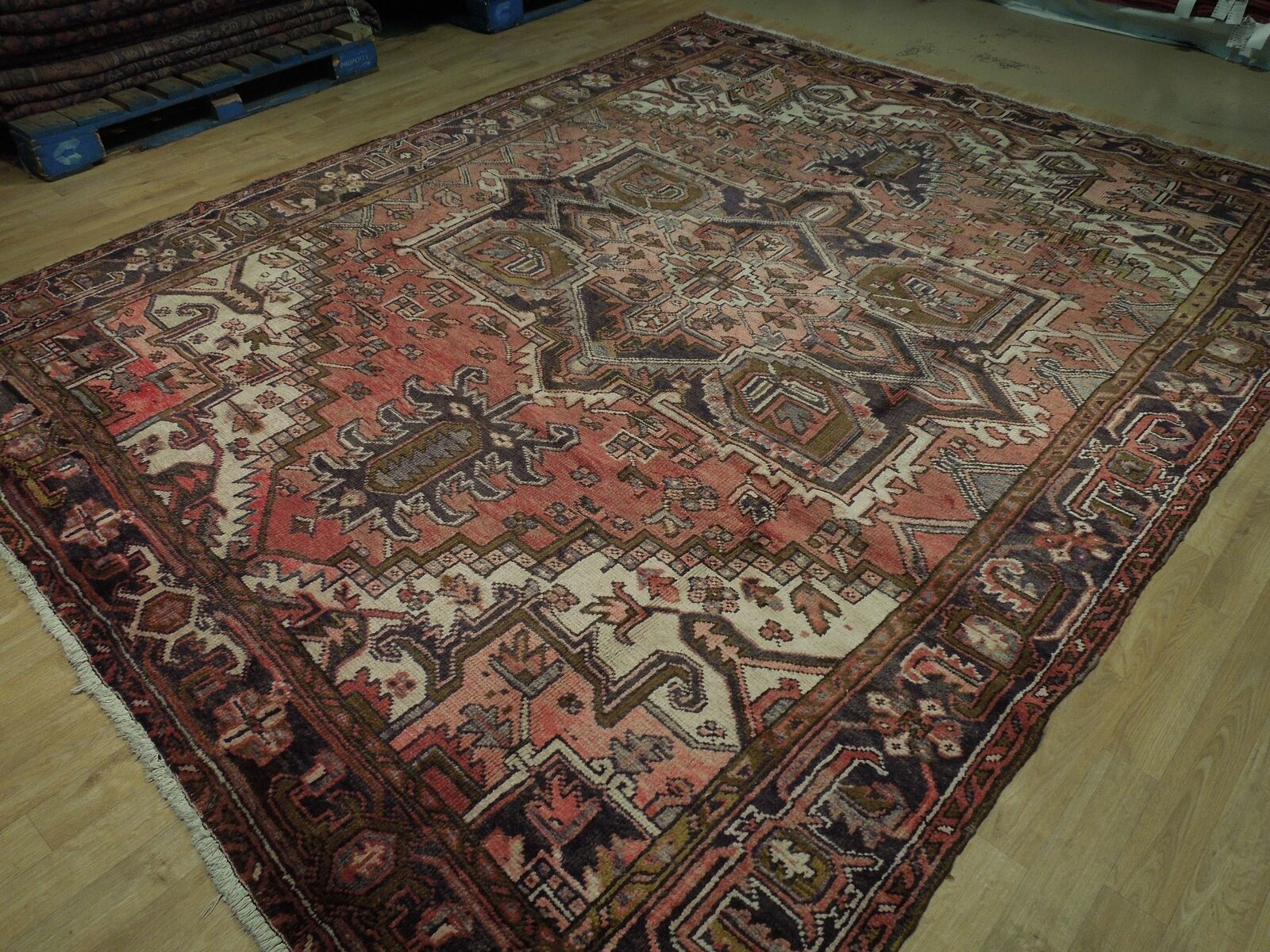 8x11 Red Heriz Wool Handmade Rust Worn-out Antique over 100 y o Persian Rug image 5