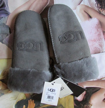 UGG Gloves Mittens Classic Logo Grey Shearling L/XL NEW - $165.00