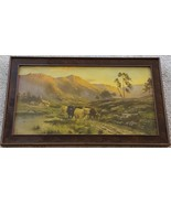 Beautiful Antique Artwork Print - 1914 - Wooden Antique Frame - VGC - GR... - $69.29