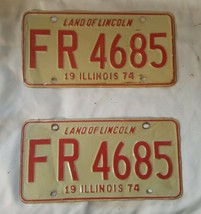 2 Vintage - 1974 Illinois License Plate Tag - Red White Set Pair image 2