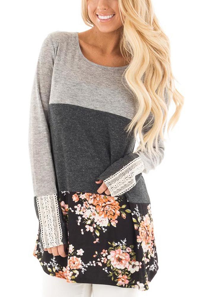 Grey Color Block Floral Patchwork Long Sleeve Blouse Top