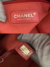 AUTHENTIC CHANEL LIGHT PINK RED CANVAS LARGE DEAUVILLE 2 WAY TOTE BAG  image 7