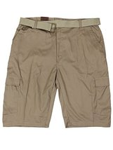 LR Scoop Men's Casual Golf Belted Cargo Dress Shorts Big Plus Sizes (44W, Khaki)
