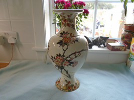 Antique Chinese  ? Japanese Baluster Hand Painted With Flowers Vase - $50.17