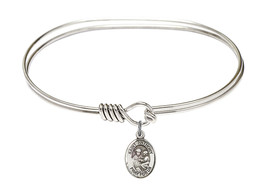 Saint Anthony of Padua 7 Oval Eyehook Sterling Silver Bangle Bracelet - $64.99