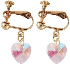 Screw Back Clip on Earring Clip for non Pierced White Crystal Heart Dangle for - $57.91