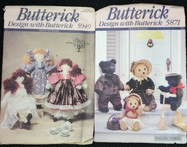 Lot of 2 Butterick Patterns - Teddy Bears (5871) & Dolls (5949) - $3.00