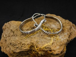 Silver hoop earrings, 925 sterling silver, patinated. Hoop - $55.00