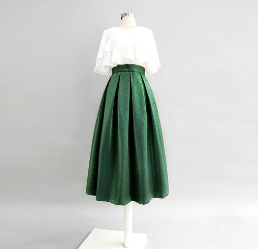 Emerlad Green Midi Party Skirt Outfit Glitter A-line Midi Skirt High Waisted