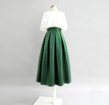 Emerlad Green Midi Party Skirt Outfit Glitter A-line Midi Skirt High Waisted image 1