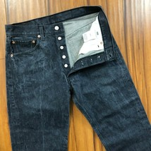 Levis 501 Button Fly Mens Jeans 31 Waist Distressed Charcoal Gray Straig... - $33.15
