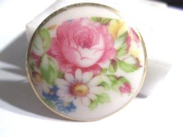 PORCELAIN PIN VINTAGE PAINTED WITH GOLD EDGE GILT 1900'S VICTORIAN FLOWE... - $24.00