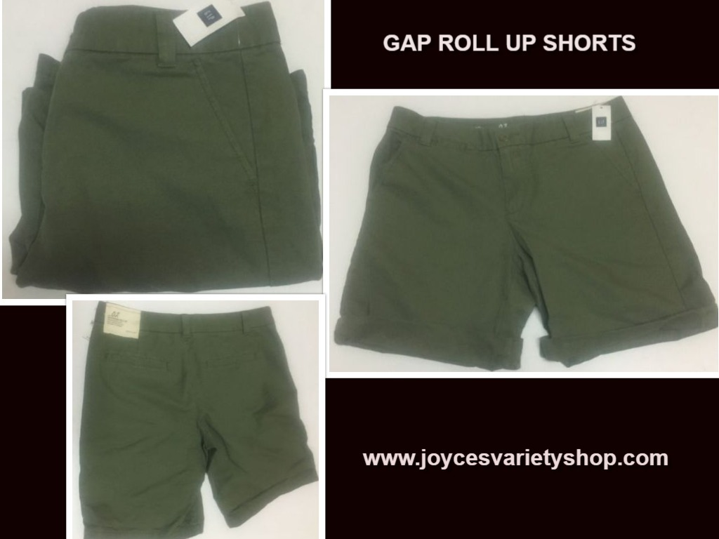 Gap roll up shorts green web collage