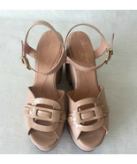 Robert Clergerie Nude Pink Beige Fabulous Platform Peeptoe Shoes Sandals... - $247.50