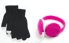2 Pairs of Black Touchscreen Gloves + Pink Headphone Earmuffs Christmas ... - $464,47 MXN