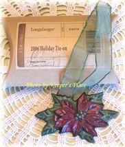 Longaberger 2006 Holiday Poinsietta Basket Tie On Ornament w/ Ribbon New Box - $12.00