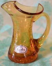 Hand blown Amber Crackle Glass Toothpick Holder or PITCHER  Huntington, ... - $15.83