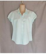 L.L.Bean top shirt  button up M  green white seersucker stripe cap sleeves  - $13.67