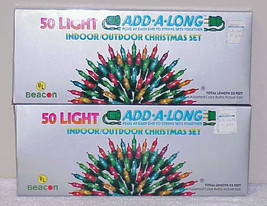 "2 Sets Vintage Christmas Mini lights 50-bulb ""Add-A-Long"" - Taiwan NOS - $17.99"
