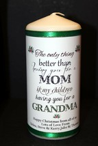 "Grandma Personalised gift  Christmas candle large 6""inch  #1 - $12.82"