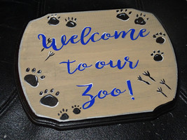 Welcome to our Zoo! Custom hand painted wooden sign house warming weddin... - $32.95