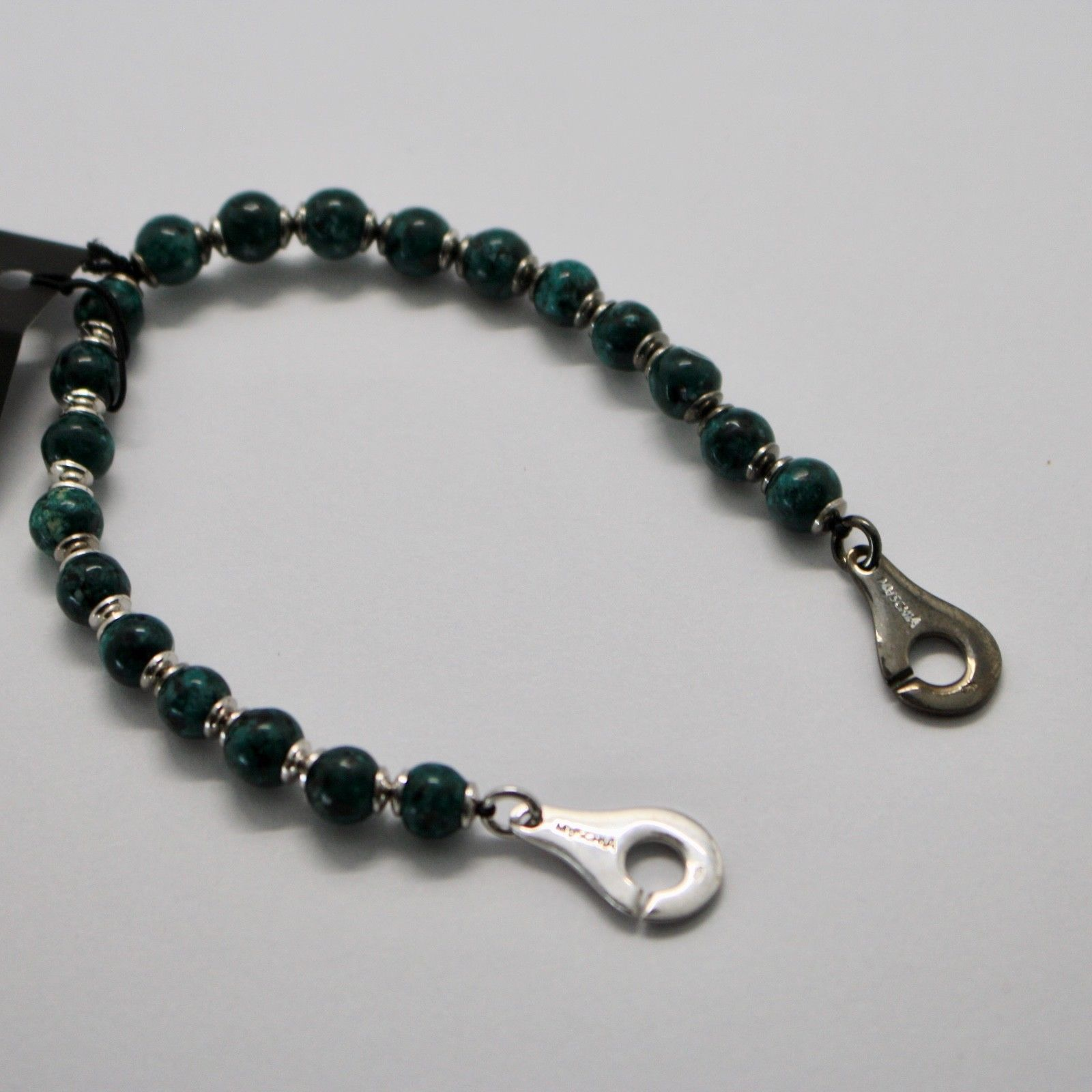 Silver 925 Bracelet with Green Jasper BSP-2 Made in Italy by Maschia