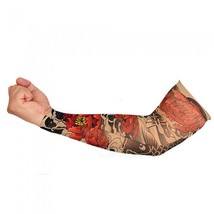 Unisex Riding Sun-Proof Red Peony Pattern Tattoo Cuff (Single One) - $12.79 CAD
