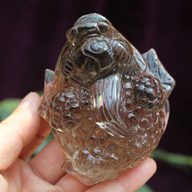 FENG SHUI Rainbow Smoky Natural Quartz Crystal  3 LEGGED TOAD FROG Fortune  - $69.25