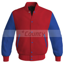 Letterman Baseball College Super Bomber Jacket Sports Red Royal Blue Satin - $49.98+
