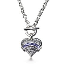 Inspired Silver North Dakota Pave Heart Toggle Necklace Clear Crystal Rh... - $13.71